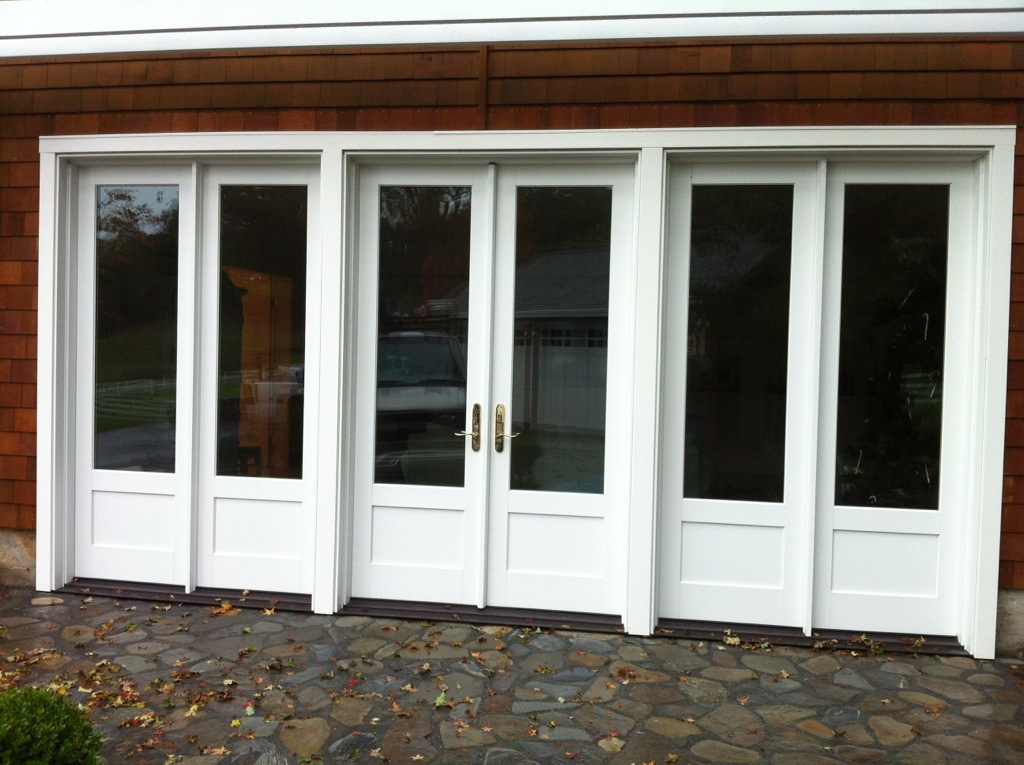 Marvin inswing french door with fixed sidelites ot glass for French doors exterior inswing
