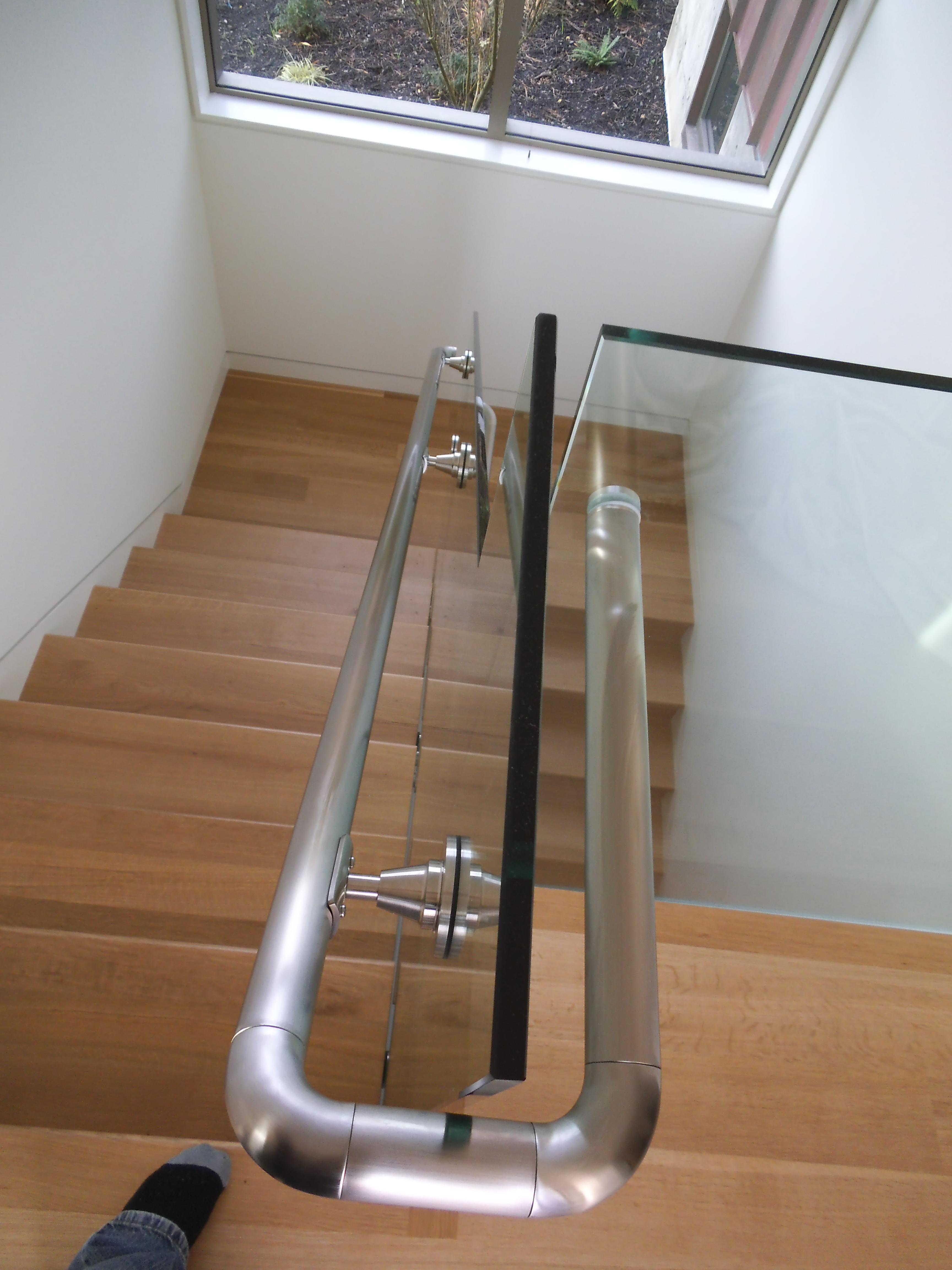 Glass Stair Railings Interior: Stinson Beach Interior Glass Stair Railing (3) 4