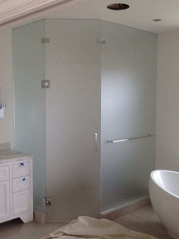 SatinEtch Toilet Room Enclosure with Shower Door Hardware OT Glass