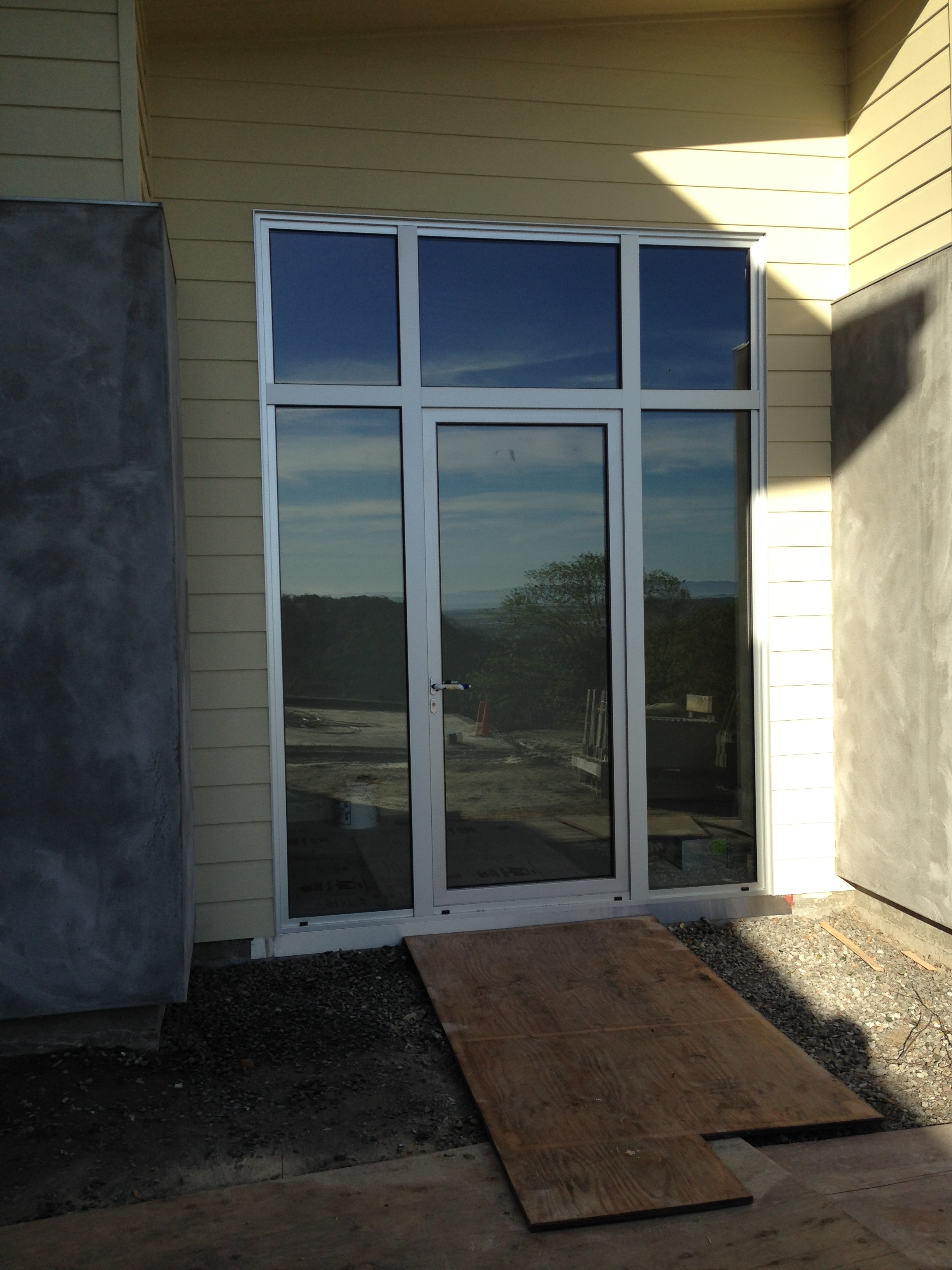 clear anodized entry door ot glass