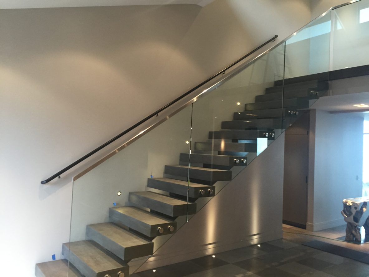 Superior Glass Stair Rail With Standoffs. Standoff Railing With Brushed Stainless  Fittings