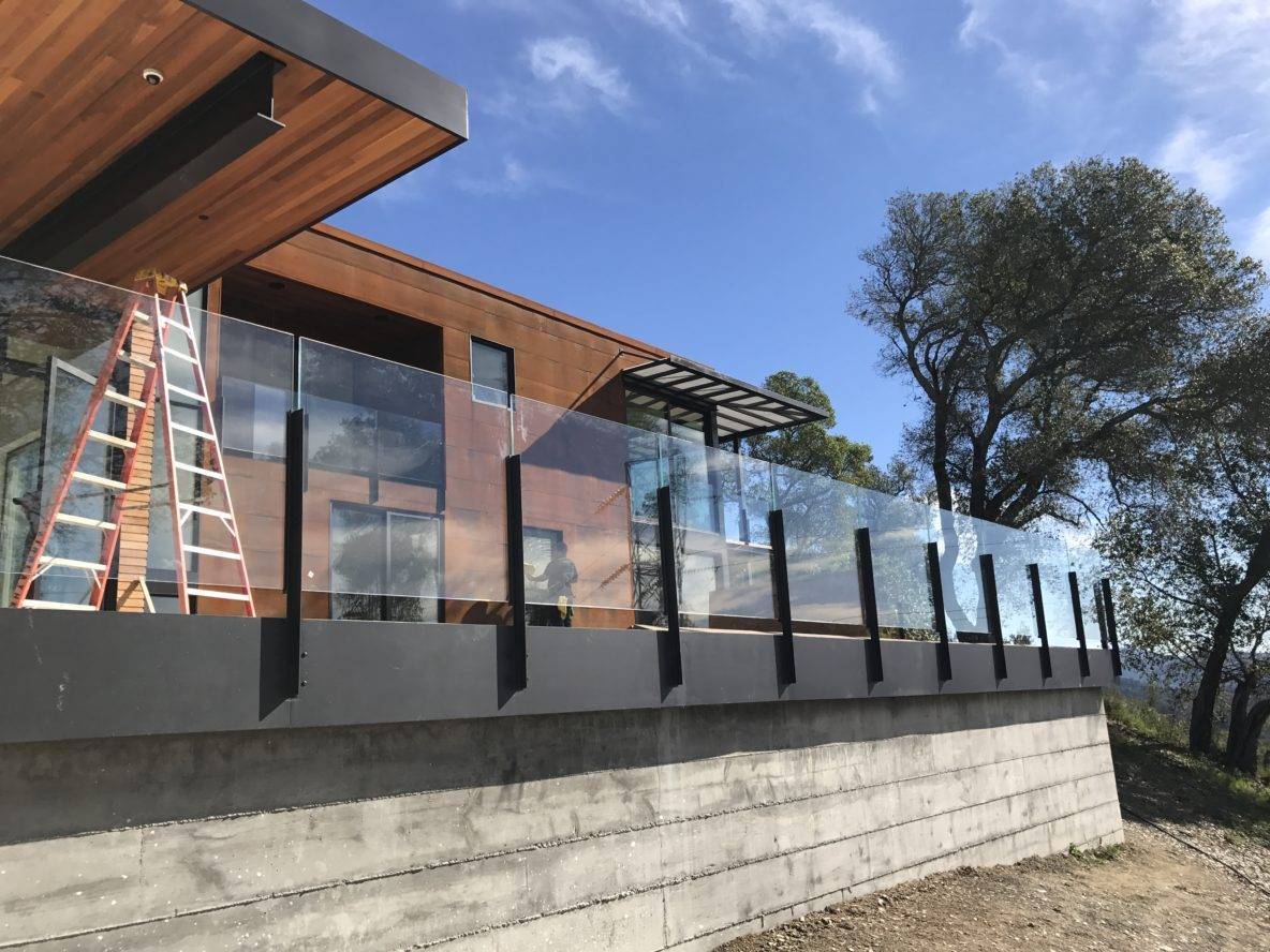 Sentry glass laminated railing overlooking Napa Valley