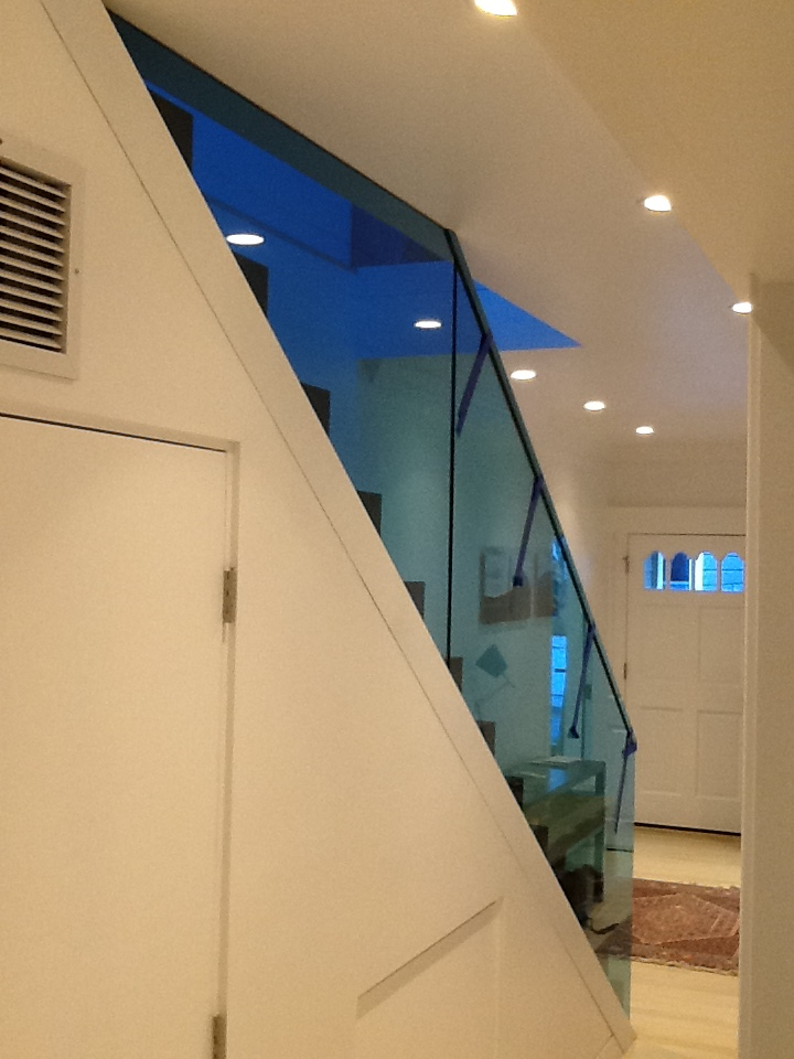 Aqua Blue Glass plus Dupont's Sentry Interlayer, equal Cool Railing