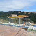 Glass deck railing - stone inset 9