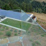Glass deck railing - stone inset 5