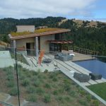 Glass deck railing - stone inset 4
