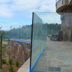 Glass deck railing - stone inset 3