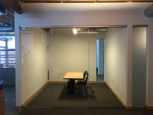 """1/2"""" Clear Tempered Glass Conference Rooms with CRL Patch Fitting Hardware"""