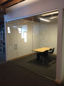 Glass Conference Rooms Installed by Old Town Glass. Featuring CRL Satin Anodized Patch Fittings