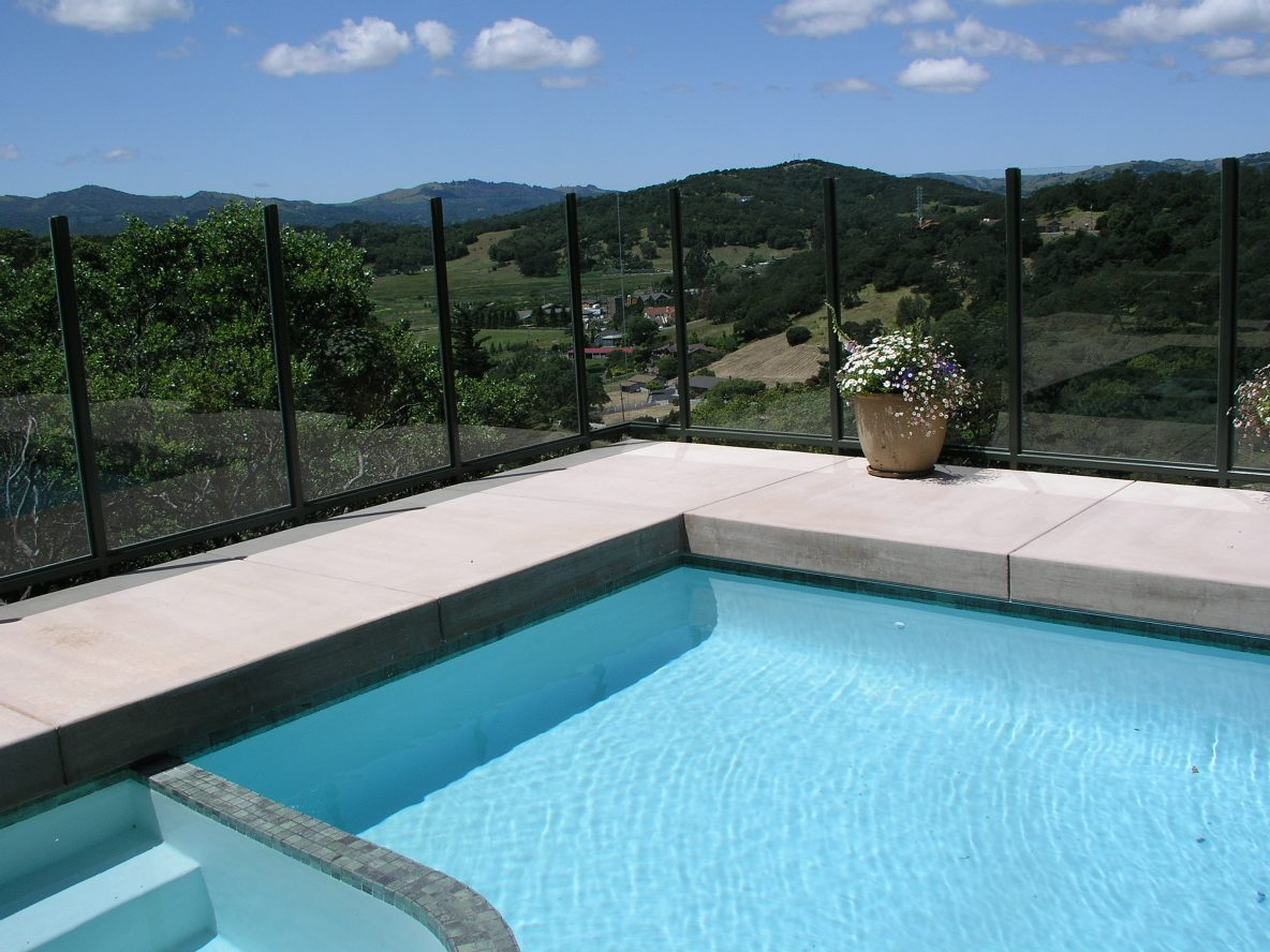 Deck Rail and Glass Windscreen in the Hills of Novato