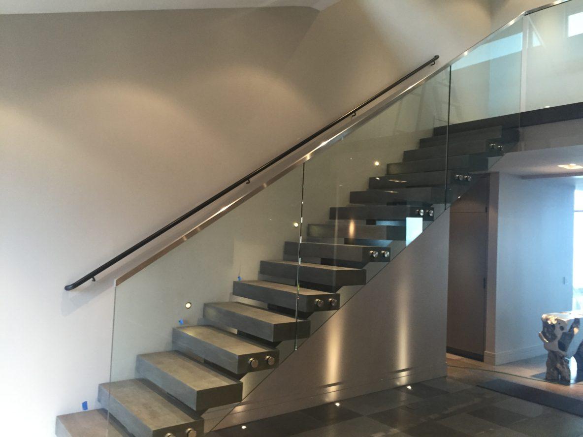 Glass Stair Rail With Standoffs U2022 OT Glass